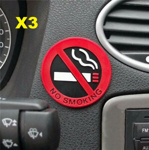 3PCs Rubber NO SMOKING Sign 3D Stickers Car Home Public Place Decal Badge Glue