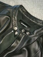 DIESEL Black Soft Leather Jacket XS RRP £ 490