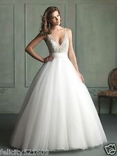 White/Ivory Bridal Ball Gown Bead+Sequins V-neck Train Wedding Dress Custom Size