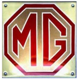 MG vitreous enamelled steel badge 120mm x 120mm (jj)
