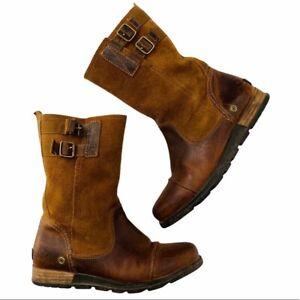 Sorel Major Women's Brown Mid Calf Leather Moto Boot Size 8