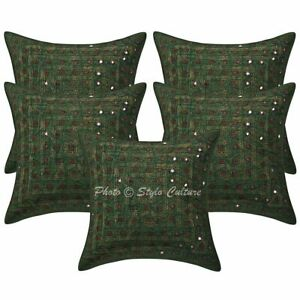 Ethnic Sofa Cushion Covers 40x40 cm Embroidered Mirror Lace Cotton Pillowcases
