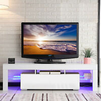 """63"""" Modern TV Stand Cabinet Console Furniture w/ LED Shelves 2 Drawers White"""