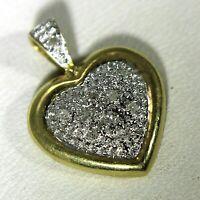 Pretty Diamond set Heart White and Yellow 9ct Gold Pendant