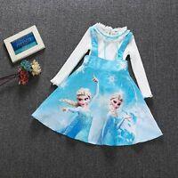 Frozen Elsa Anna Princess Girls' Long Sleeve  Flower Party Birthday Dress ZG8