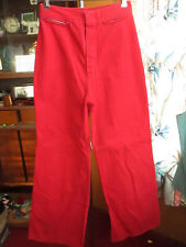 24x30 Vtg 70s WOMENS RED HIGH WAIST DENIM DISCO POCKETLESS  BELLBOTTOM JEANS