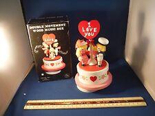 "Vintage New Wood Loving Couple W/Cupid""Love Many Splendored Thing"" Music Box Nib"