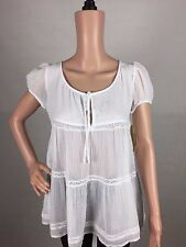 Denim & Supply Ralph Lauren New Women White Cap-sleeve Lace-trim Keyhol Blouse L