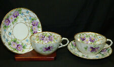 2 Antique Nippon Porcelain Cup & Saucer Sets Hand Painted Purple Flowers & Gold