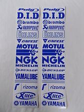 30 Teilig - Motorrad Sponsoren Aufkleber - Set 10cm - blau - a. Farben möglich