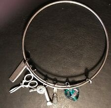 HAIRDRESSING INSPIRED CHARMS ON SILVER PLATED ADJUSTABLE BANGLE BRACELET GIFT