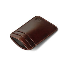 REAL Leather Men's Small Id Credit Card Wallet Holder Slim Pocket Case Wine Red