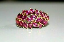 9CT GOLD NATURAL AMETHYST CLUSTER  RING. SIZE O.