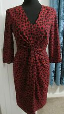 GORGEOUS WHISTLES COLETTA RED CHEETAH ANIMAL PRINT SILK DRESS SZ 8 EU 34