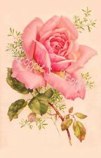 Fabric Block French Victorian Single Pink Rose on Fabric Vintage