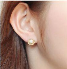 !1571 NiX Gold 18K Flower Earrings Latest Fashion Earrings Pearl Stud Earrings