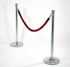 SS Crowd Control Bollards Queue Post Stands 2 x Barriers + 1 x 38mm dia Red Rope