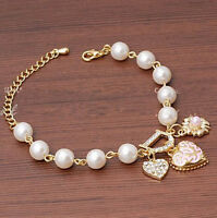 Fashion Style Wedding Bridal Crystal Rhinestone Pearl Bracelet Bangle Jewelry
