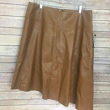 Worthington Faux Leather Asymmetrical Skirt Size 16 Brown NWT Women's #1590