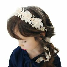 Baby Girl Headband Lace Pearl Flower Hairband (White) LW