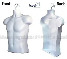 ONE MALE MANNEQUIN TORSO , Display Clothing Shirt WHITE HANGING DRESS FORM