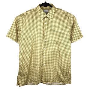 Maus & Hoffman Yellow Patterned Short Sleeve Button Shirt Size XL