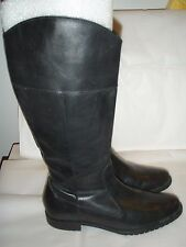 L.L. BEAN BLACK Leather Side Zip riding style boot full zip sz 7M