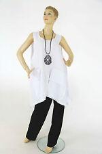 Leinene ärmellose Damenblusen, - tops & -shirts ohne Muster für die Freizeit