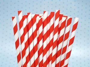 25 RED & WHITE STRIPE Paper Retro Vintage Party Drinking Straws Birthday Wedding