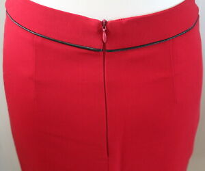 Smart & Stylish Lined Red Business Skirt - Size XS/S UK 8/10