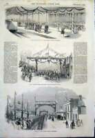 Original Old Antique Print Railway Station Nottingham Queen Nautilus Arch 1843