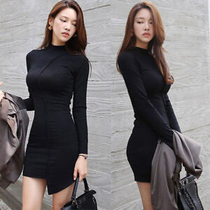 Women Sexy Long Sleeve Mock Neck Asymmetric Stretch Knit Clubwear Bodycon Dress