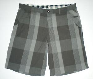 "LULULEMON Shorts GRAY Checked Plaid Patchwork KAHUNA 11"" Cotton blend Mens 38"