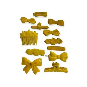 """VTG Yellow COLORED PLASTIC BARRETTE HAIR CLIPS GOODY""""S? SNAP TIGHT 80's"""
