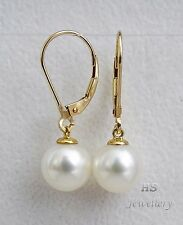 HS South Sea Cultured Pearl 10mm 14K Yellow Gold Hoop Earrings Top Grading NR!