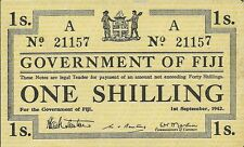 GOVERNMENT OF FIJI ~ 1 SHILLING 1942 ~ P-49a ~ FULLY EMBOSSED CHOICE CRISP NEW