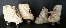 As Found! 2 Pairs Antique Oil Cloth Roller Skate Doll Shoes For Composition Doll