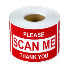 "Please SCAN ME Thank You Stickers Barcode Sign Care Labels (2"" x 3"" / Red / 1PK)"