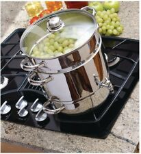 Euro Cuisine Stainless Steel Stove Top Steam Juicer Tempered Glass Lid Spigot