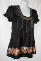 FREE PEOPLE Anthropologie 100% SILK Button Down Back Blouse Shirt Top Size 2