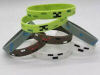 8Pcs Minecraft Creeper Bracelet Rubber Kids/Adult Large Party 20cm Notch Mojang⛏