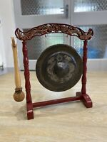 Brass Dinner Gong Chinese Dragons Freestanding Leather Striker Antique Vintage
