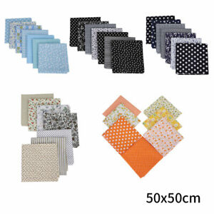 7x 100% cotton fabric DIY Fat Quarter Bundle quilting patchwork craft 50x50cm UK
