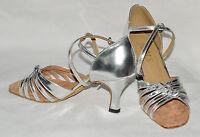 silver ladies ballroom latin dance shoes sylvia