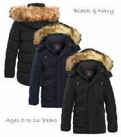 Boys Padded Parka Coat Ages 5 7 8 9 10 11 12 13 16 Years Jacket Faux Fur Black