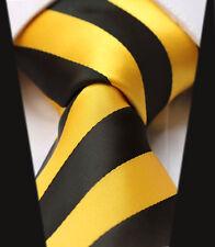 Herren Hochzeitskrawatte Ausverkauf Gelbgold schwarz Streifen Design gestreift