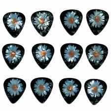 12 Pack DAISY FLOWER PEACE LOVE Medium Gauge 351 Guitar Picks Plectrum Pearloid