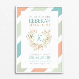 Personalised New Baby Newborn Girl Christening Dedication Keepsake Print Canvas