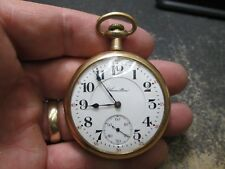 Hamilton LARGE SIZE FANCY Gold Filled CASE Running Pocket Watch 21J 992 MOVEMENT