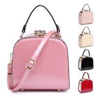 Ladies Dual Compartment Patent Handbag Heart Clasp Shoulder Bag Evening MA34973